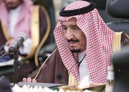 Saudi Arabia's King Salman bin Abdulaziz Al Saud attends a meeting with Russian President Vladimir Putin (not pictured) at the Saudi Royal palace in Riyadh, Saudi Arabia, 14 October 2019. Russian President Vladimir Putin pays a state visit to Saudi Arabia.