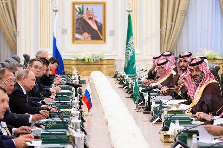 Stock Picture of Saudi Arabia's Crown Prince Mohammad bin Salman bin Abdulaziz Al Saud (R) speaks to Russian President Vladimir Putin (C-L) during the talks in Riyadh, Saudi Arabia, 14 October 2019. Russian President Vladimir Putin pays a state visit to Saudi Arabia.