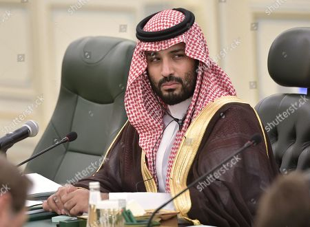 Saudi Arabia's Crown Prince Mohammad bin Salman bin Abdulaziz Al Saud attends a meeting with Russian President Vladimir Putin (not pictured) at the Saudi Royal palace in Riyadh, Saudi Arabia, 14 October 2019. Russian President Vladimir Putin pays a state visit to Saudi Arabia.