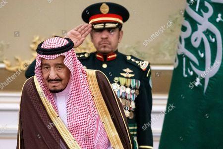 Saudi Arabia's King Salman bin Abdulaziz Al Saud attends an official welcome ceremony for Russian President Vladimir Putin (not pictured), in Riyadh, Saudi Arabia, 14 October 2019. Russian President Vladimir Putin pays a state visit to Saudi Arabia.