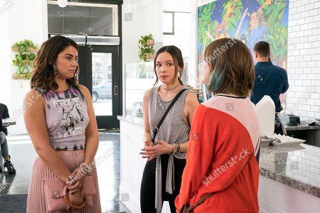Lorenza Izzo as Tathiana, Malese Jow as Camilla and Tara Lynne Barr as Laura Meyers