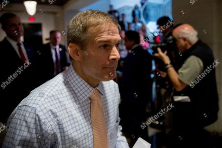 Scott Perry, Jim Jordan, Lee Zeldin. Republican lawmakers, from left, Rep. Scott Perry, R-Pa., Rep. Lee Zeldin R-N.Y., and Rep. Jim Jordan, R-Ohio, ranking member of the Committee on Oversight Reform, walk into a meeting after speaking to reporters where former White House advisor on Russia, Fiona Hill, will testify before congressional lawmakers as part of the House impeachment inquiry into President Donald Trump, on Capitol Hill in Washington