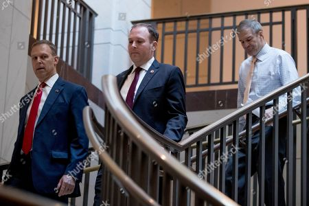Scott Perry, Jim Jordan, Lee Zeldin. Republican lawmakers, from left, Rep. Scott Perry, R-Pa., Rep. Lee Zeldin R-N.Y., and Rep. Jim Jordan, R-Ohio, ranking member of the Committee on Oversight Reform, arrive for a closed door meeting on Capitol Hill in Washington, where former White House advisor on Russia, Fiona Hill, is scheduled to testify before congressional lawmakers as part of the House impeachment inquiry into President Donald Trump