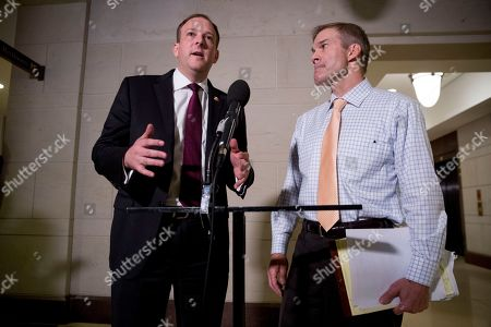 Jim Jordan, Lee Zeldin. Rep. Jim Jordan, R-Ohio, ranking member of the Committee on Oversight Reform, right, and Rep. Lee Zeldin R-N.Y., left, speak to reporters following a closed door meeting on Capitol Hill in Washington, where former White House advisor on Russia, Fiona Hill, testified before congressional lawmakers as part of the House impeachment inquiry into President Donald Trump