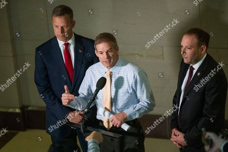 Jim Jordan, Scott Perry, Lee Zeldin. Rep. Jim Jordan, R-Ohio, ranking member of the Committee on Oversight Reform, center, with Rep. Scott Perry, R-Pa., left, and Rep. Lee Zeldin, R-N.Y., speaks to reporters upon arrival on Capitol Hill in Washington