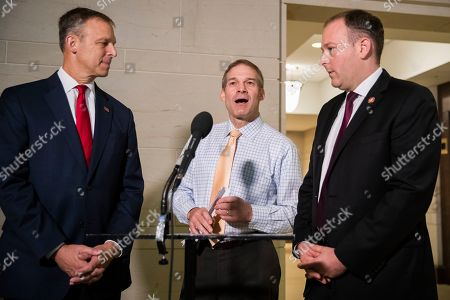 Jim Jordan, Scott Perry, Lee Zeldin. Rep. Jim Jordan, R-Ohio, ranking member of the Committee on Oversight Reform, center, with Rep. Scott Perry, R-Pa., left, and Rep. Lee Zeldin, R-N.Y., speaks to reporters on Capitol Hill in Washington