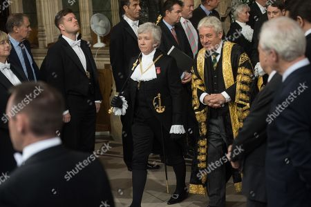 Black Rod Sarah Clarke and Speaker of The House of Commons John Bercow walks through the Member's Lobby in the House of Commons for the State Opening of Parliament at Houses Of Parliament
