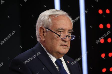 Editorial photo of Jean Pierre Raffarin on RTL Le Grand Jury Radio, Paris, France - 13 Oct 2019