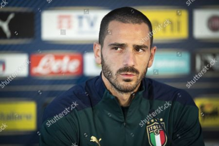 Leonardo Bonucci of Italy attends a press conference of the Italian national soccer team in Vaduz, Liechtenstein, 14 October 2019. Italy play Liechtenstein in an UEFA Euro 2020 Qualifying, Group J soccer match on 15 October.