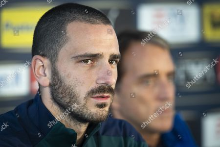 Stock Image of Leonardo Bonucci of Italy attends a press conference of the Italian national soccer team in Vaduz, Liechtenstein, 14 October 2019. Italy play Liechtenstein in an UEFA Euro 2020 Qualifying, Group J soccer match on 15 October.