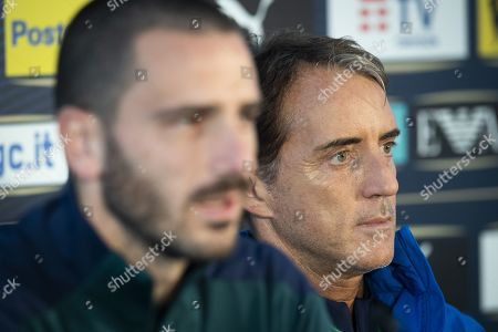 Italy's head coach Roberto Mancini (R) and his defender Leonardo Bonucci attend a press conference of the Italian national soccer team in Vaduz, Liechtenstein, 14 October 2019. Italy play Liechtenstein in an UEFA Euro 2020 Qualifying, Group J soccer match on 15 October.