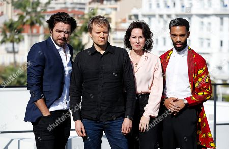 Luke Allen-Gale (L), Marc Warren (2-L), Maimie McCoy (2-R) and Elliot Barnes-Worrell (R) pose during a photocall for the TV series 'Van Der Valk' at the annual MIPCOM television content market in Canneâ??s, France, 14 October 2019. The media event runs from 14 to 17 October.
