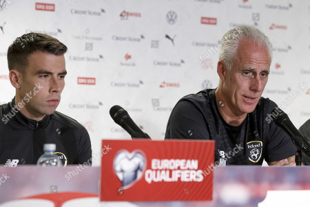 Ireland's head coach Mick McCarthy (R) and his player Seamus Coleman attend a press conference in Geneva, Switzerland, 14 October 2019. Ireland play Switzerland in an UEFA Euro 2020 qualifying Group D soccer match on 15 October.