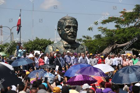 Stock Image of Dominican former President Leonel Fernandez speaks in front to hundred people in front of the Central Electoral Board, in Santo Domingo, 14 October 2019, where he affirmed that the primary elections of the country were a fraud and a 'shameful crime'.
