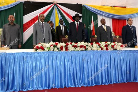 (L-R) Ethiopian Prime Minister Abiy Ahmed, President of the Sudanese Transitional Council General Abdulfattah Al Burhan, South Sudan's President Salva Kiir Mayardit, Ugandan President Yoweri Museveni, Egyptian Prime Minister Mostafa Madbouly attend the opening session of peace talks between Sudan ruling council and rebels, in Juba, South Sudan, 14 October 2019. According to reports, Juba is hosting peace talks between the ruling transitional council in Sudan and rebel leaders that aim to end years-long multiple conflicts in Sudan.