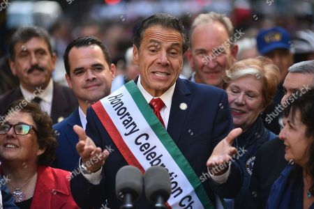 Stock Photo of Gov. Andrew Cuomo marches in the 75th Anniversary Columbus Day Parade on Fifth Avenue