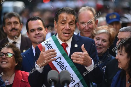 Stock Picture of Gov. Andrew Cuomo marches in the 75th Anniversary Columbus Day Parade on Fifth Avenue
