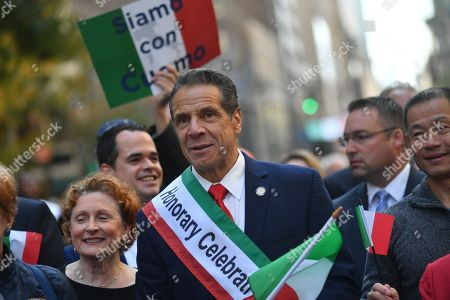 Gov. Andrew Cuomo marches in the 75th Anniversary Columbus Day Parade on Fifth Avenue in New York