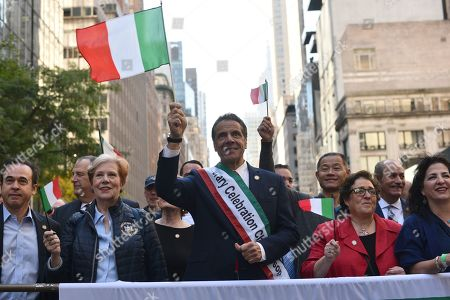 Gov. Andrew Cuomo marches in the 75th Anniversary Columbus Day Parade on Fifth Avenue