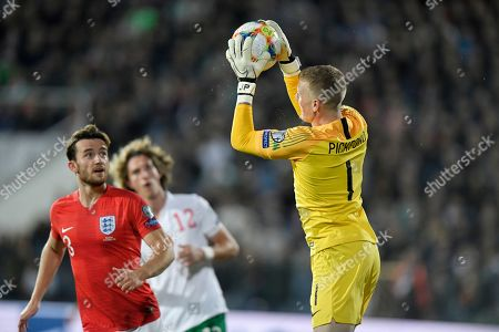 England goalkeeper Jordan Pickford catches the ball during the Euro 2020 group A qualifying soccer match between Bulgaria and England, at the Vasil Levski national stadium, in Sofia, Bulgaria