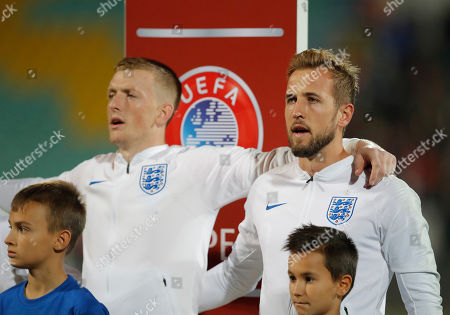 Stock Picture of England's Harry Kane, right, and England goalkeeper Jordan Pickford line up for the anthems before the Euro 2020 group A qualifying soccer match between Bulgaria and England, at the Vasil Levski national stadium, in Sofia, Bulgaria