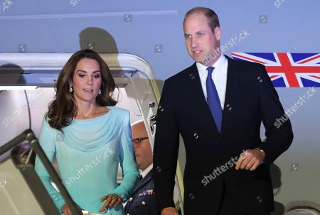 Britain's Prince William and his wife Catherine Duchess of Cambridge arrived at Nur Khan base in Islamabad, Pakistan. They are on a five-day visit, which authorities say will help further improve relations between the two countries