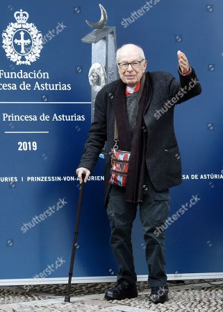 British artist Peter Brook, winner of the Princess of Asturias Arts Award,, arrives to Oviedo, Asturias, Spain, 14 October 2019. The Princess of Asturias Awards are given every year to personalities or organizations from all around the world who made significant achievements in the sciences, arts, literature, humanities and sports. The awarding ceremony will take place in Oviedo on 18 October 2019.