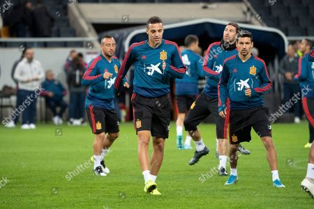 Stock Photo of Spain's national soccer player Rodrigo Moreno Machado (front L) attends a training session in Solna, Sweden, 14 October 2019. Spain play Sweden in an UEFA Euro 2020 qualification soccer match on 15 October.