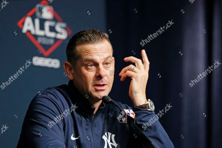 New York Yankees manager Aaron Boone speaks to members of the media during a news conference, on an off day during the American League Championship Series, at Yankee Stadium in New York. Game 3 against the Houston Astros is scheduled for Tuesday