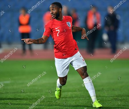 Raheem Sterling of England celebrates after scoring during the UEFA EURO 2020 qualifying group A soccer match between Bulgaria and England, in Sofia, Bulgaria 14 October 2019.