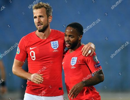 Raheem Sterling (R) of England celebrates after scoring with his teammate Harry Kane (L) during the UEFA EURO 2020 qualifying group A soccer match between Bulgaria and England, in Sofia, Bulgaria 14 October 2019.