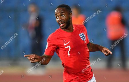 England's Raheem Sterling celebrates after scoring his second goal during the UEFA EURO 2020 qualifying group A soccer match between Bulgaria and England, in Sofia, Bulgaria 14 October 2019 (issued 15 October 2019). The match was twice brought to halt due to racist behaviour of Bulgarian fans.