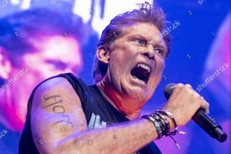Stock Picture of David Hasselhoff performs on stage during a concert at the Samsung Hall in Zurich, Switzerland, 14 October 2019, as part of his 'Freedom! The Journey Continues Tour'.