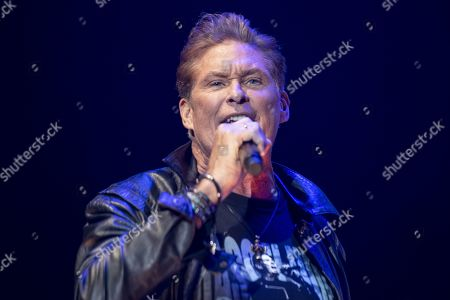 Stock Photo of David Hasselhoff performs on stage during a concert at the Samsung Hall in Zurich, Switzerland, 14 October 2019, as part of his 'Freedom! The Journey Continues Tour'.