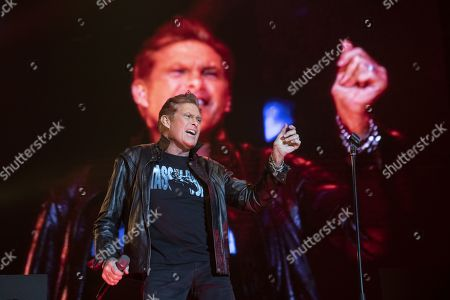 Stock Image of David Hasselhoff performs on stage during a concert at the Samsung Hall in Zurich, Switzerland, 14 October 2019, as part of his 'Freedom! The Journey Continues Tour'.