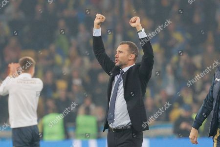 Stock Image of Ukrainian head coach Andriy Shevchenko reacts during the UEFA Euro 2020 qualifying, group B, soccer match between Ukraine and Portugal in Kiev, Ukraine, 14 October 2019.