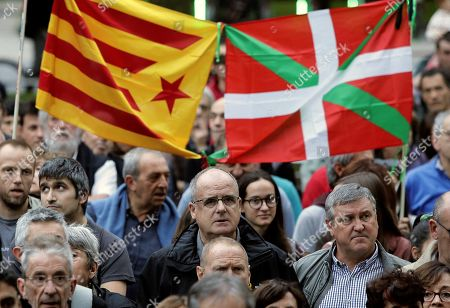 People attend a rally called by the group called 'Gure Esku Dago' against the sentence ruled by Supreme Court on 'proces' trial', in San Sebastian, Basque Country, Spain, 14 October 2019. Spanish Supreme Court condemned Oriol Junqueras to 13 years in jail for sedition, Carme Forcadell to 11 years and half for sedition; Jordi Cuixart and Jordi Sanchez were sentenced to 9 years and half for sedition; former regional Minister Jordi Turull, Raul Romeva and Dolors Bassa were sentenced to 12 years in jail for sedition and missapropriation, and Joaquin Forn and Josep Rull were condenmend 10 years an half for sedition. The three other defendants were absolved.