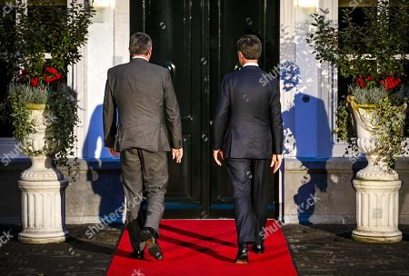 Dutch Prime Minister Mark Rutte (R) meets Prime Minister Jan Jambon (L) of Flanders at the Catshuis in The Hague, The Netherlands, 14 October 2019. This was the first meeting after the start of the new Flemish government at the beginning of October.