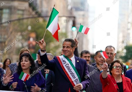 New York Gov. Andrew Cuomo marches during the 75th Annual Columbus Day Parade in New York, USA, 14 October 2019. The parade celebrates Italian-American culture as well as the anniversary of Christopher Columbus's arrival in the Americas in 1492.