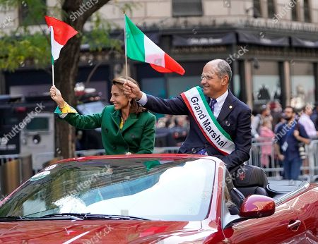 Stock Photo of Grand Marshal Massimo Ferragamo, Chairman of Ferrgamo USA, during the 75th Annual Columbus Day Parade in New York, USA, 14 October 2019.  The parade celebrates Italian-American culture as well as the anniversary of Christopher Columbus's arrival in the Americas in 1492.