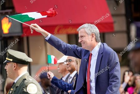 Stock Image of New York Mayor Bill de Blasio marches in the 75th Annual Columbus Day Parade in New York, USA, 14 October 2019.  The parade celebrates Italian-American culture as well as the anniversary of Christopher Columbus's arrival in the Americas in 1492.