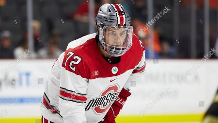 Ohio State forward Carson Meyer (72) in action against the Western Michigan during an NCAA hockey game on in Toledo, Ohio