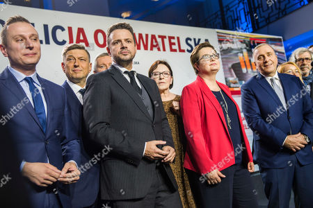 Rafal Trzaskowski, Katarzyna Lubnauer and Grzegorz Schetyna on stage during the event. Election night of the Civic Coalition and preliminary announcement of results in parliamentary general election. The Civic Coalition is the biggest opponent of the currently ruling party - PiS.