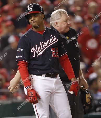 Washington Nationals batter Juan Soto reacts after being called out on strikes by home plate umpire Bill Miller as he batted against the St. Louis Cardinals in the bottom of the first inning of their MLB National League Championship Series playoff baseball game three at Nationals Park in Washington, DC, USA, 14 October 2019. The winner of the best-of-seven series will go on to face either the New York Yankees or the Houston Astros in the World Series.