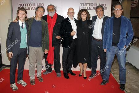 Stock Image of Giulio Pranno, Diego Abatantuono, Gabriele Salvatores and Valeria Golino with the film producers