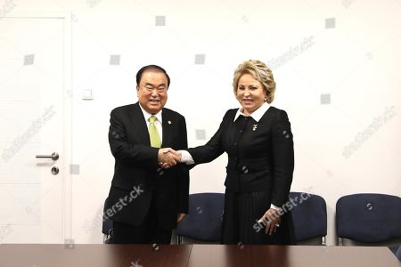 Moon Hee-sang (L), South Korea?s National Assembly Speaker, shakes hands with Valentina Matviyenko (R), chairwoman of Russia's Federation Council, during the 141st Assembly of the Inter-Parliamentary Union (IPU), in Belgrade, Serbia, 14 October 2019 (issued 15 October 2019).