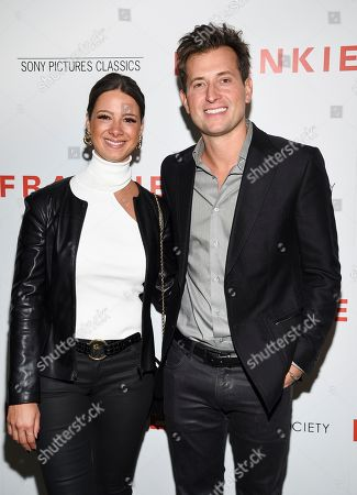 """Stock Photo of Zeynep Onaran, Peter Cincotti. Peter Cincotti, right, and Zeynep Onaran attend a special screening of Sony Pictures Classics' """"Frankie"""", hosted by The Cinema Society, at Metrograph, in New York"""