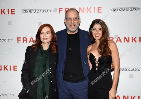 "Isabelle Huppert, Ira Sachs, Marisa Tomei. Writer-director Ira Sachs, center, poses with actors Isabelle Huppert, left, and Marisa Tomei at a special screening of Sony Pictures Classics' ""Frankie"", hosted by The Cinema Society, at Metrograph, in New York"