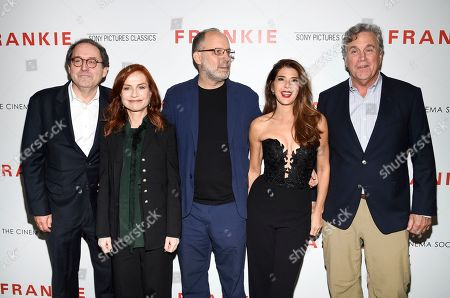 "Michael Barker, Isabelle Huppert, Ira Sachs, Marisa Tomei, Tom Bernard. Sony Pictures Classics co-president Michael Barker, left, actor Isabelle Huppert, writer-director Ira Sachs, actor Marisa Tomei and Sony Pictures Classics co-president Tom Bernard pose together at a special screening of Sony Pictures Classics' ""Frankie"", hosted by The Cinema Society, at Metrograph, in New York"