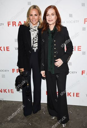 """Tory Burch, Isabelle Huppert. Fashion designer Tory Burch, left, and actress Isabelle Huppert attend a special screening of Sony Pictures Classics' """"Frankie"""", hosted by The Cinema Society, at Metrograph, in New York"""